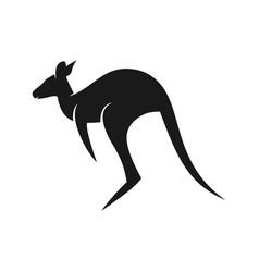 black kangaroo logo vector image
