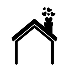 black silhouette house with chimney and hearts vector image
