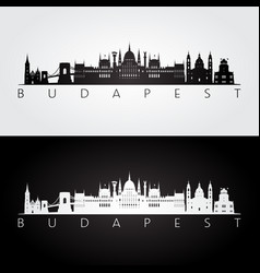 Budapest skyline and landmarks silhouette black vector