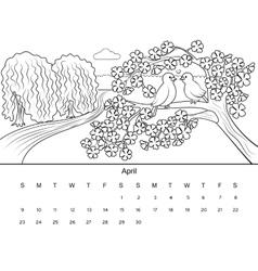 Calendar with coloring book vector