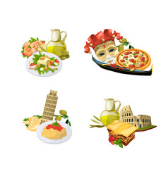 cartoon italian cuisine elements isolated vector image