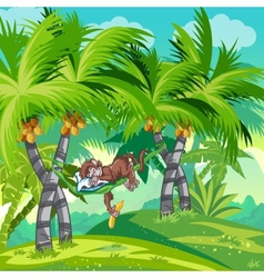 Childrens of the jungle with a sleeping monkey vector