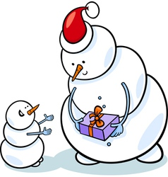 christmas snowmen cartoon vector image