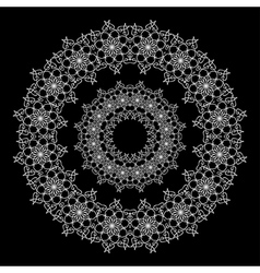 Circular White Lace Ornament on Black Background vector image