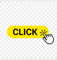 click web button template yellow bar hand finger vector image