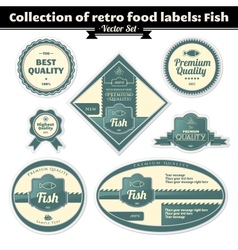 Collection Of Retro Food Labels Fish vector