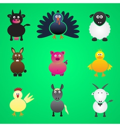 Colorful farm animals simple icons set eps10 vector