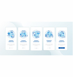 Corporation formation stages onboarding mobile vector
