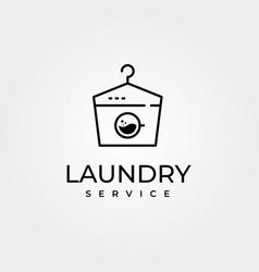 creative laundry logo with hanger symbol and wash vector image