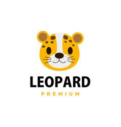 Cute cheetah leopard flat logo icon vector