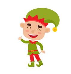Cute little christmas boy elf smiling vector