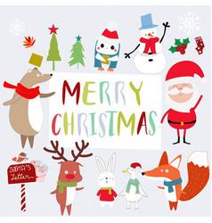 cute santa and animal cartoon vector image