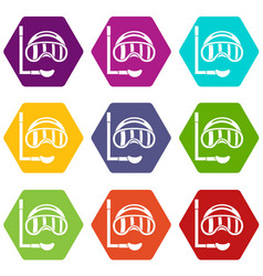 diving mask icon set color hexahedron vector image