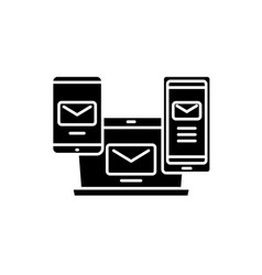 e-mail management black icon sign on vector image