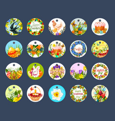 easter tag set with cartoon round label vector image