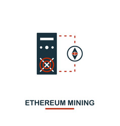 ethereum mining icon creative two colors design vector image