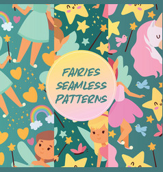 fairy girl seamless pattern magic faery vector image