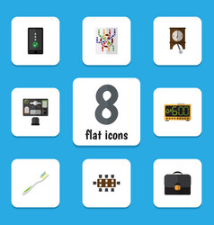 Flat icon lifestyle set of router clock bureau vector