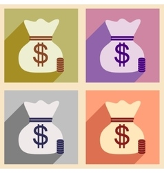 Flat with shadow icon concept money bag and coins vector