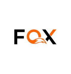Fox text and inside o waving figure fox vector