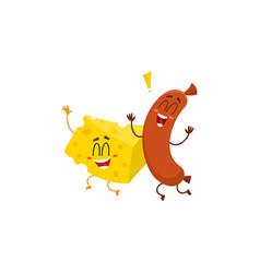 Frankfurter sausage and cheese chunk characters vector
