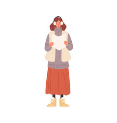 funny woman in warm outerwear singing christmas vector image
