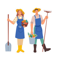 garden and farmer agriculture workers flat cartoon vector image
