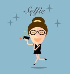 girl taking selfie photo on smart phone vector image