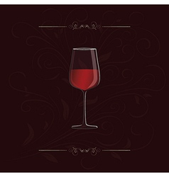 Glass of red wine with floral design in background vector