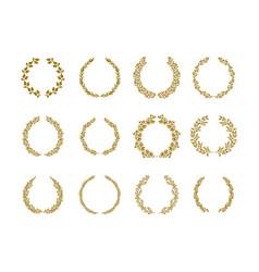 gold laurel foliage wreath set vector image