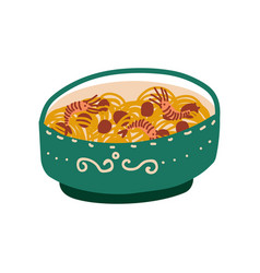 green bowl noodles with shrimps traditional vector image