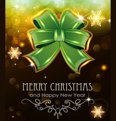 green christmas bow on holiday background vector image