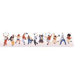 Group happy students jumping with books paper vector