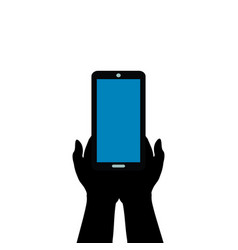 hands hold mobile phone digital technology vector image