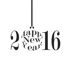 Happy New Year 2016 in black and white vector image