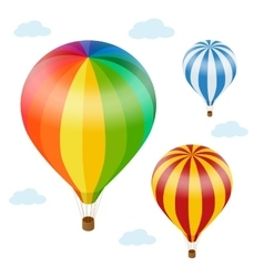 Hot air balloon in the sky with clouds Flat 3d vector image