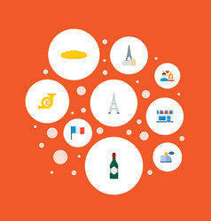 icons flat style baguette perfumery cafe and vector image vector image