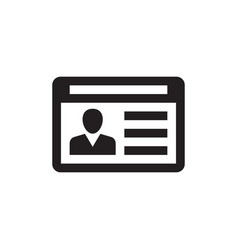 id card - black icon on white background vector image