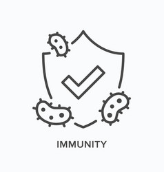 Immune shield line icon outline vector