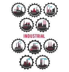 Industrial plants flat symbols framed by cogwheels vector image