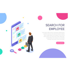 isometric hiring recruitment concept job vector image