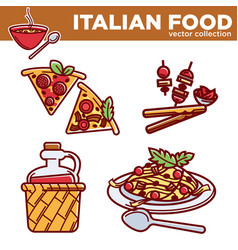 Italian food collection of exquisite vector