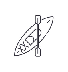 kayaks line icon concept kayaks linear vector image