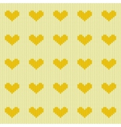 Knitted hearts seamless pattern vector image