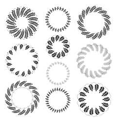 Laurel wreath tattoo set Black ornaments ten vector image