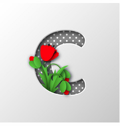 Letter c with paper cut poppy flowers vector