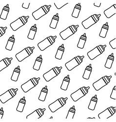 Line plastic bottle feeding object background vector