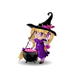 little blonde baby witch girl in purple dress vector image