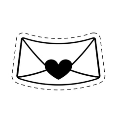 Love message envelope valentine cut line vector
