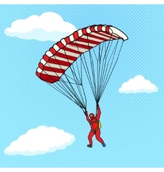 Man flying on a parachute comic book vector